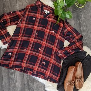 CHRISTOPHER & BANKS - Embroidered Plaid Blouse